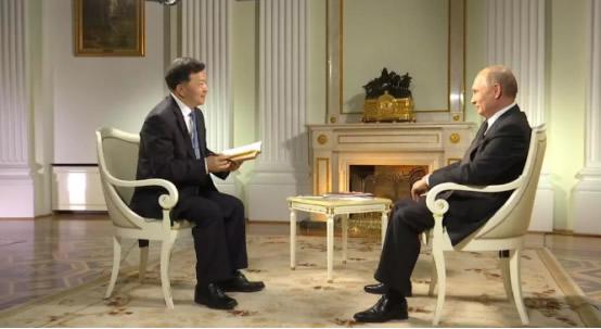 2018年5月,俄罗斯总统?#31449;?#25509;受中央广播电视总台台长慎海雄独家专访。