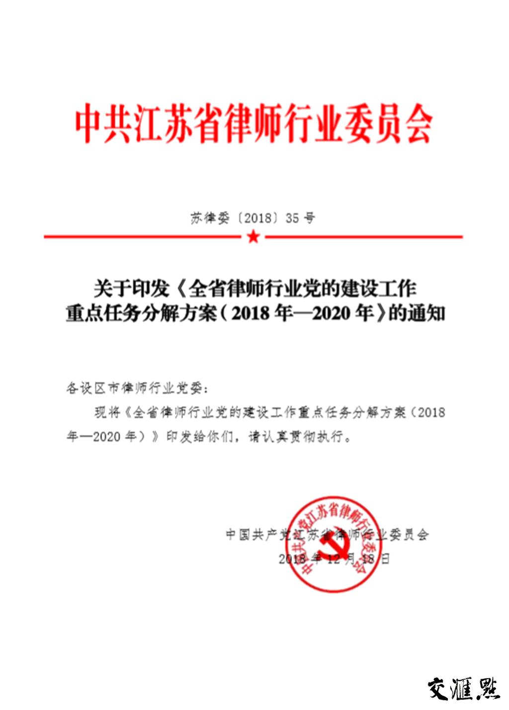 《全省律师行业党的建设工作重点任务分解方案》