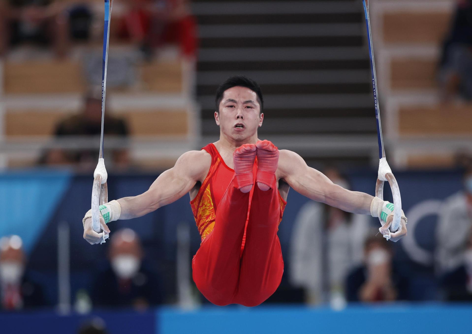 尤浩在体操男子吊环决赛中